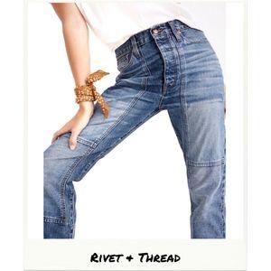 Rivet & Thread | High Rise Thigh Patch Boyjeans